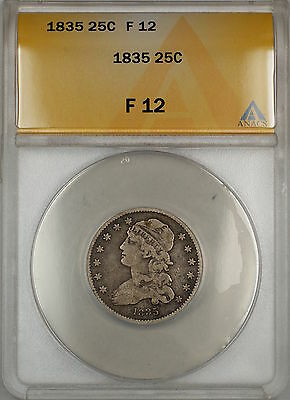 1835 Capped Bust Silver Quarter 25c Coin ANACS F-12 (Better Reverse) (9)