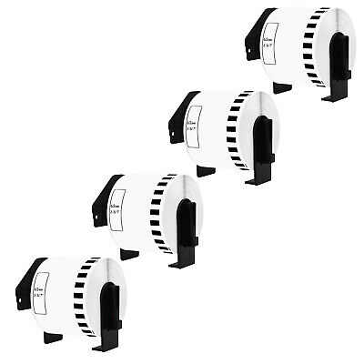 4 Roll of DK2205 100' Continuous White Labels Compatible for Brother QL-570 62mm