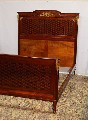 Antique French Empire Full Double Mahogany Parquetry Bed