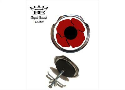 Royale Car Grill Badge + Fittings  POPPY 10% to ROYAL BRITISH  LEGION B2.2479