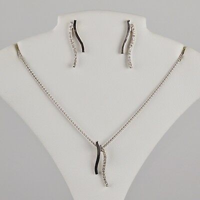 "18K White Gold Diamond Journey Necklace and Earring Sets L:18"" W:1mm 0.21tcw"