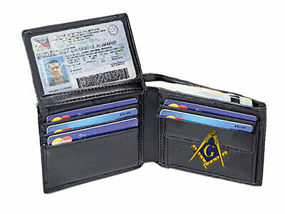 Masonic Wallet - Bi Fold Style - Embroidered Logo - New - Quality Leather