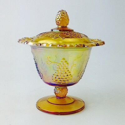 Vintage Carnival Glass Candy Jar Bowl Lidded Canister with Grape Design