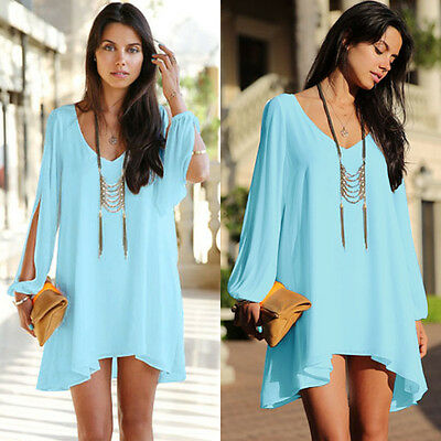 Women's Plus Size Summer Casual Party Evening Cocktail Casual Mini Beach Dress
