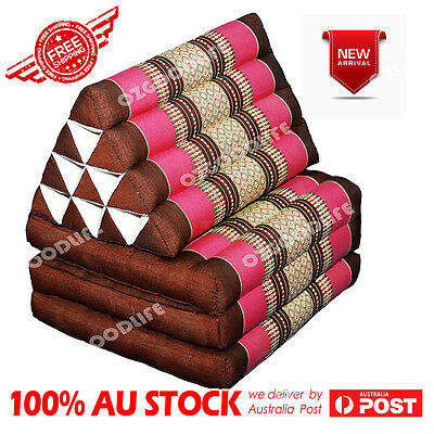 Rose red Jumbo SIZE 3-FOLDS Brown Thai Triangle Pillow Mattress Cushion DayBed