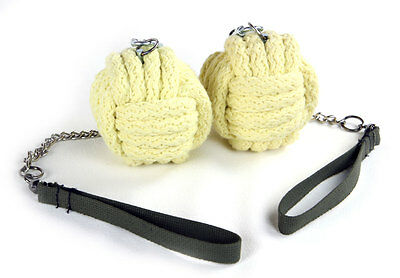 """Monkey Fist Fire Poi , 3"""" Kevlar, Twisted Link Chain Trick Concepts"""