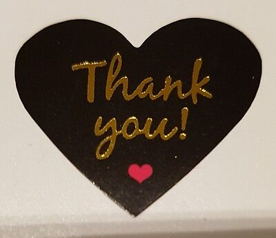 Thank You stickers  Black Glossy Self-adhesive label x 120