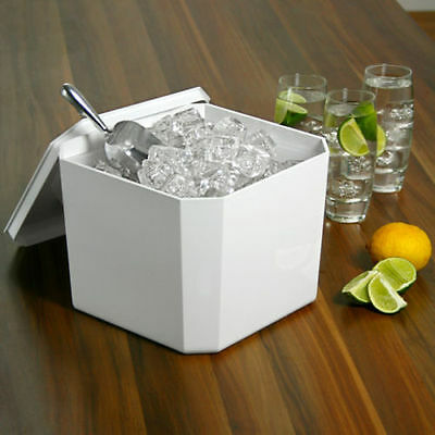 Octagonal Ice Bucket White 4.5ltr | Plastic Square Ice Cube Bucket Cooler