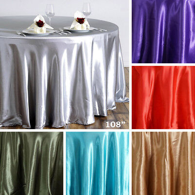 "36 pcs Wholesale Lot 108"" ROUND Satin TABLECLOTHS Wedding Party Banquet Linens"