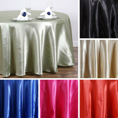 "6 pcs 108"" ROUND Satin TABLECLOTHS Wedding Party Kitchen Tabletop Linens SALE"