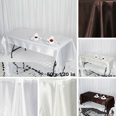"10 pcs 50x120"" RECTANGLE Satin TABLECLOTHS Wedding Party Banquet Catering Linens"