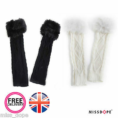 New Fur Knitted Fingerless Long Wrist Hand Warmers Mitts Gloves Mittens Womens