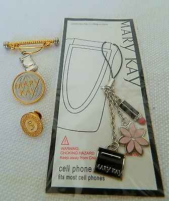 4 pcs Mary Kay 2 gold pins and cell phone charm, gold pin with charm MK Cosmetic
