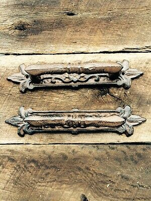 2 Large Fancy Cast Iron Gate Barn Door Shed Pull Handle Rusty Brown Finish Heavy