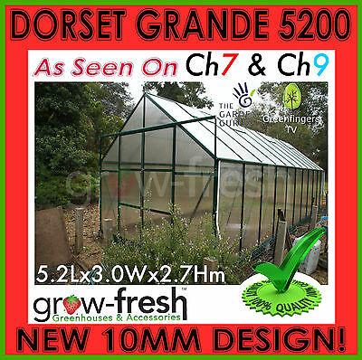10mm ALUMINIUM POLYCARBONATE Garden GREENHOUSE Shade GREEN HOT HOUSE Shed 5.2S