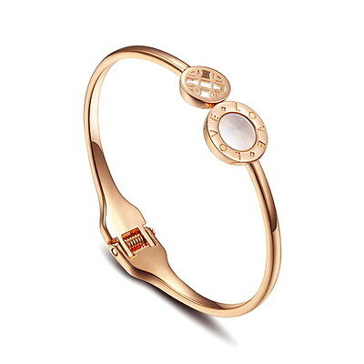 Elegant 18k Rose Gold Filled Women Mother Of Pearl Double Circle Cuff Bangle T32