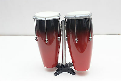 Conga Drum Set Red Musical Percussion Instrument Miniature For Display Only