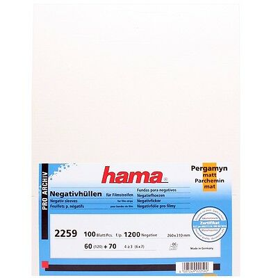 100 x Hama 60mm 6x6 6x7 6x9 120 format NEGATIVE GLASSINE SHEETS Film Sleeves