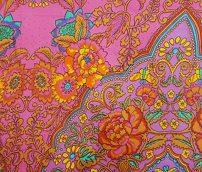 "45"" Wide Pink Cotton Floral Printed Crafting Fabric For Quilting By The Yard"