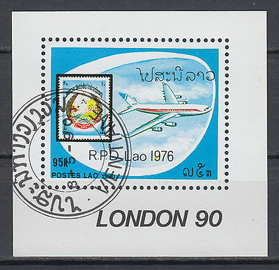 Laos Block 132 Internationale Briefmarkenausst. STAMP WORLD London'90 gestempelt