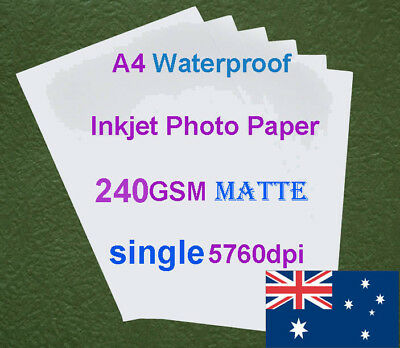 10 X A4 280GSM Waterproof Double Side Matte RC Inkjet Photo Paper