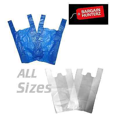 Plastic Carrier Bags Strong Vest Shopping Supermarket Shop Takeaway All Sizes Uk