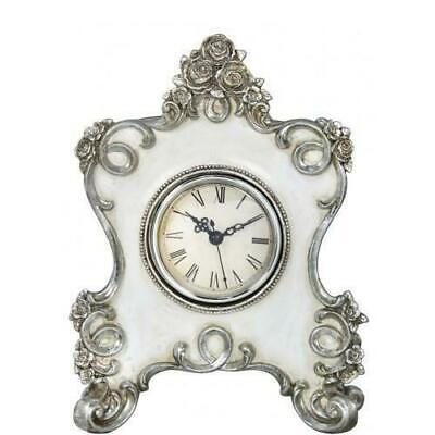 Vintage Baroque Style White & Silver Mantle Mantel Table Desk Clock Gift