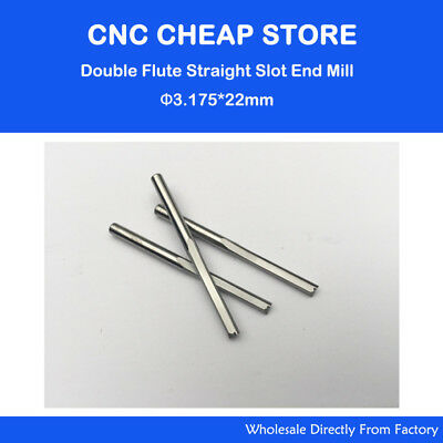"""10pcs Double Two Flute Straight Slot CNC Router Bits Wood MDF Milling 1/8"""" 22mm"""