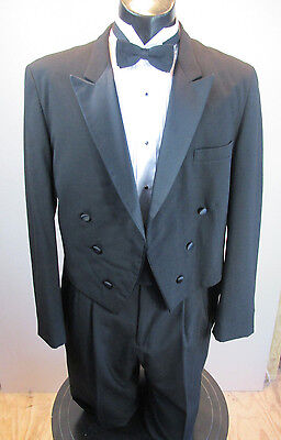 Vintage Black Tails Tuxedo Raffinati Peak Lapel 4 Pc 6  Button 44L T-45