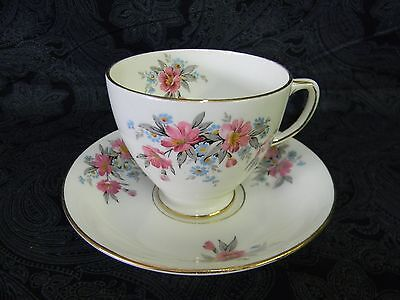 Vintage Sampson Smith Bone China Pink / Blue Floral Cup & Saucer