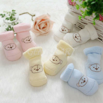 2 Pairs Unisex Baby Newborn Cartoon Bear Pattern Winter Socks for 0-6 Months