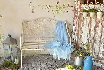 Romantic Garden Bench Seat Outdoor Patio Backrest Seating Metal Marine