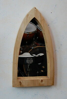 Gothic Arch Solid Wooden Pine Mirror 46cm Hand Made Waxed