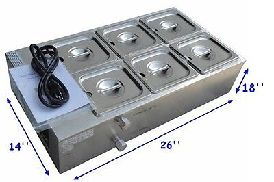 110V Six Pans Well Bain Marie Chocolate Melter Warmer Stainless Steel