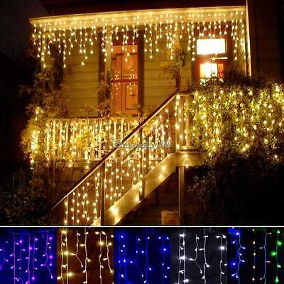 Icicle Hanging Snowing Curtain Light Fairy Christmas Outdoor Wedding Party Lamps