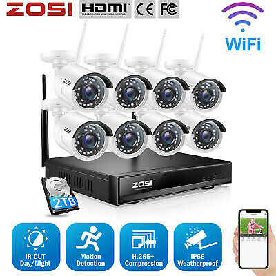 ZOSI 8CH 1080P NVR 1.3MP HD CCTV Wireless Security Camera System IP WIFI Outdoor
