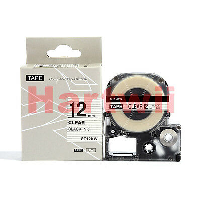 """EPSON12mm LC-4TBN Compatible Label Tape Black on Clear 12mm 8m 1/2 x 26"""" LW300"""