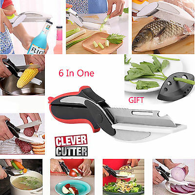 Version2 6-in-1 Clever Cutter Knife & Cutting Board Scissors As Seen On TV +gift