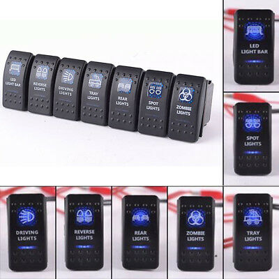 7PCS 12V 20A Rocker Toggle Switch Blue LED Light Car Truck Boat Vans Waterproof