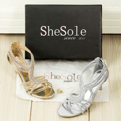 AU FREE SHIP Womens Strappy Low Heels Wedding Sandals Dance Silver Shoes