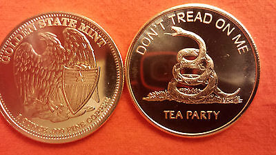 #3 Tea Party 1oz Copper Round Don/'t Tread On Me SMALL EAGLE BACK