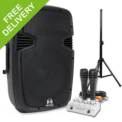 "Ekho 12"" Active Party PA Speaker + Mixer + 2x Microphones + Stand System 600W"