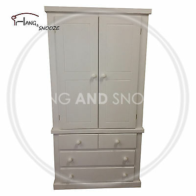 Hand Made Dewsbury Furniture 4 Drawer Shelved Wardrobe Gents White(Assembled)