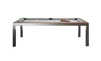 Brushed Stainless Steel Fusion Pool Table - White Top & Benches
