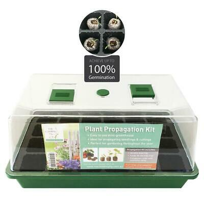 PROPAGATION mini greenhouse tray kit. Jiffy pellets, vermiculite. Seed & plant.