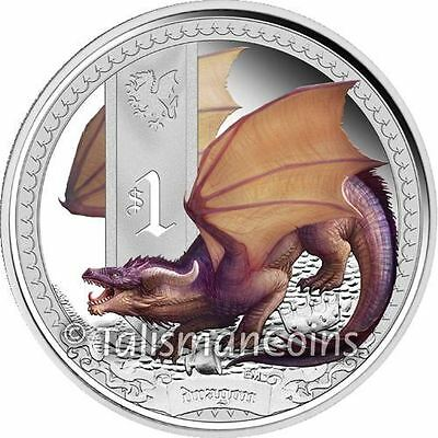 Tuvalu 2014 Mythical Creatures #5 Dragon $1 Pure Silver Dollar Color Proof 2013