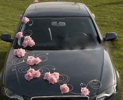 wedding car decoration, ribbon, bows, prom limo decoration , GRETA light pink