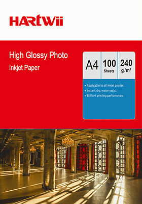 100 Sheets A4 240Gsm High Glossy Photo Paper Inkjet Paper Printing  Hartwii AU