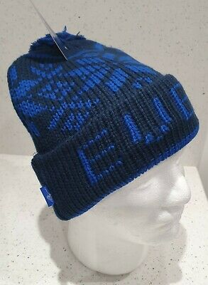Everton Official Adults Fairisle bobble Hat Navy and Royal - Great Gift Idea!
