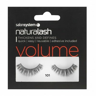 Salon System Naturalash Re-Usable False Black 101 EyeLashes Adhesive Included